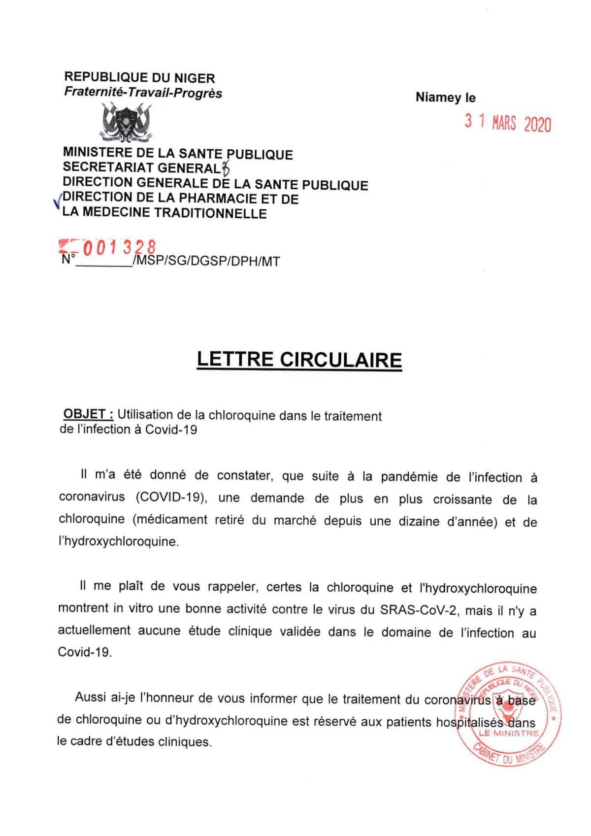 La lettre circulaire du Niger contre le coronavirus