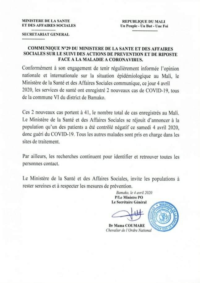 Communiqué du ministère de la santé annonçant la première guérison du Covid-19 au Mali