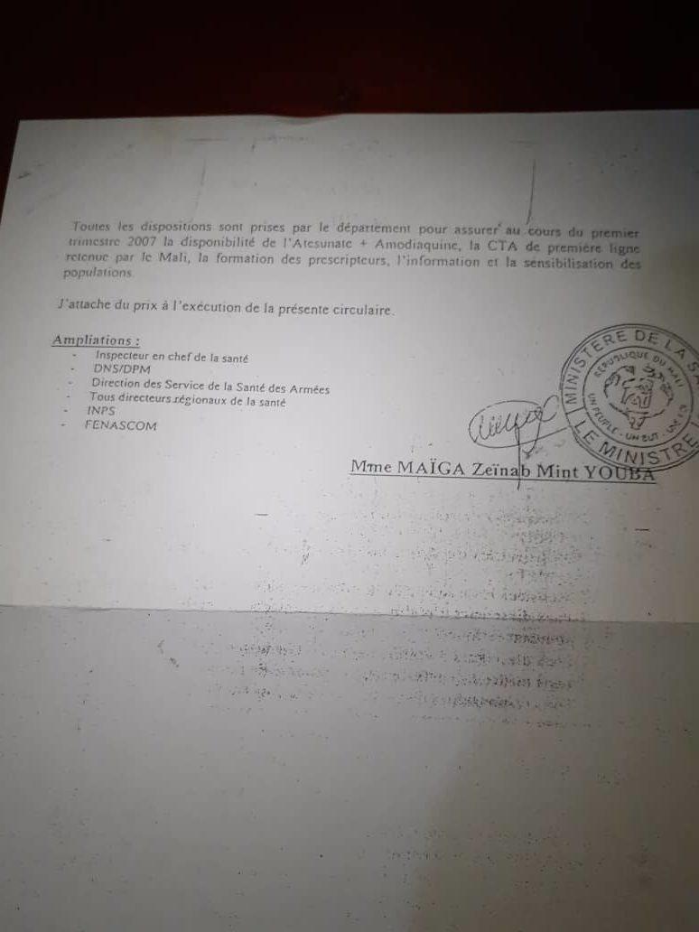 Décision du ministère de la santé interdisant la Chloroquine au Mali