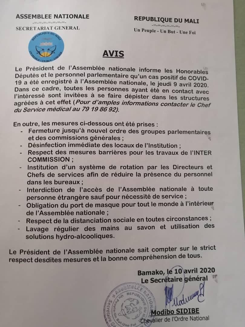 Communiqué de l'assemblée nationale du Mali