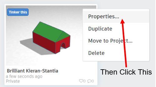 TinkerCAD Tutorial: Properties Button