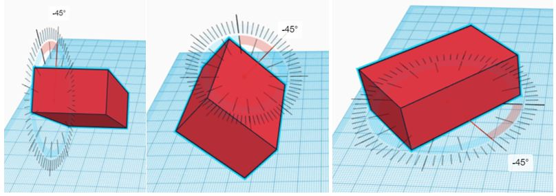 TinkerCAD Tutorial: Rotate Box in X (Left), Y (Middle) and Z (Right) Axis