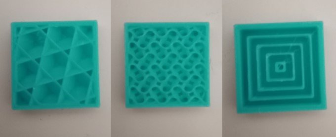 Infill Pattern: Cubic (Left), Gyroid (Middle), Concentric (Right)