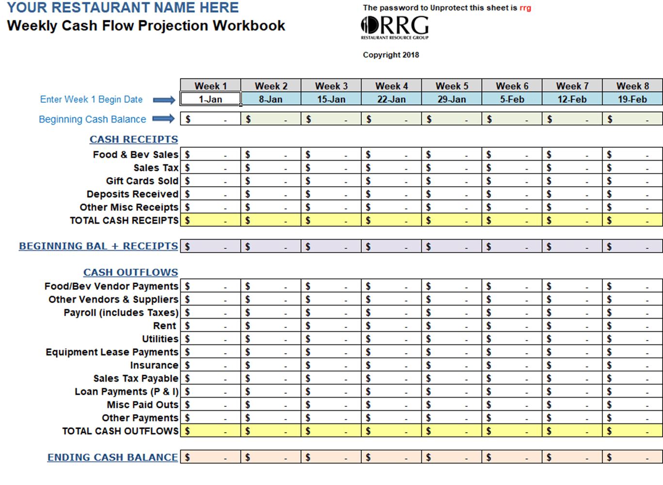 Restaurant Weekly Cash Flow Workbook Spreadsheet