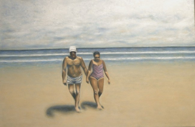 "Bob & Blanche at the Beach - Oil on Canvas - 24"" x 36"""