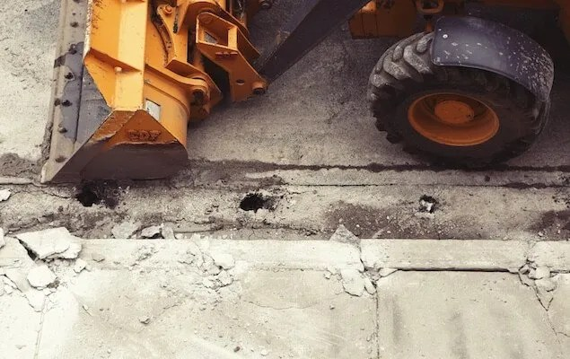 construction site digger front wheel