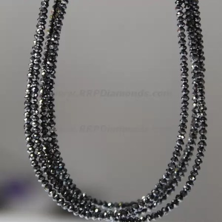 Natural Real Black Faceted Loose Diamond Beads