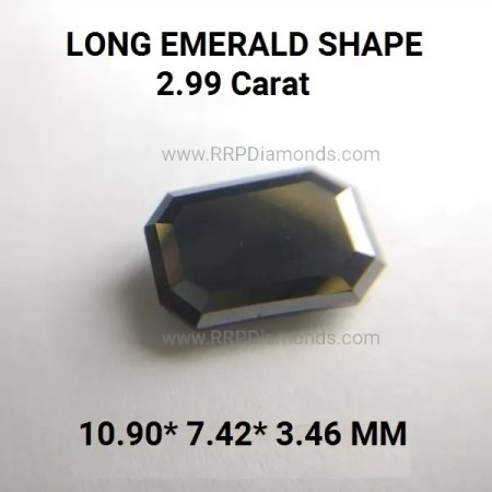 2.99 Carat 10.9*7.4*3.4 MM Emerald Cut AAA Step Cut Black Diamond