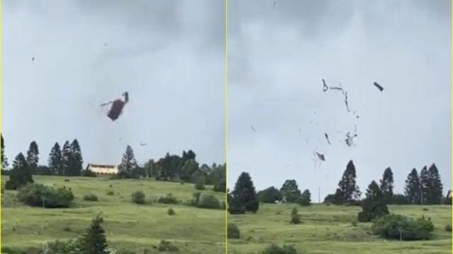 Moti ekstrem, pamje që tregojnë se çfarë i bëri tornado, një çatie të një ndërtese në lindje të Francës