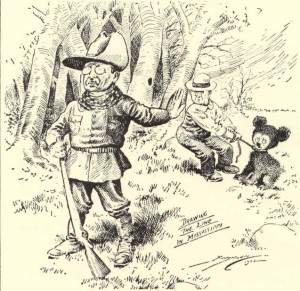 Die skets van President Teddy Roosevelt wat nie die beer wou skiet nie.