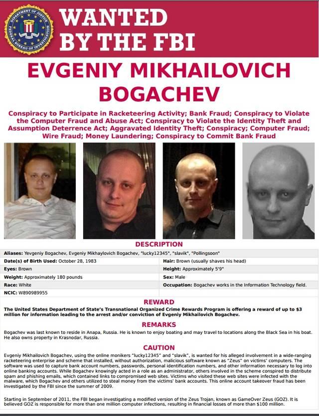 Evgeniy Mikhailovich Bogachev: il super cybercriminale. Su di lui pende una taglia di 3 milioni