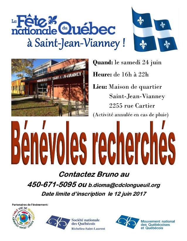 Bénévoles recherché-e-s Fête Nationale du Québec à Saint-Jean Vianney le 24 juin 2017