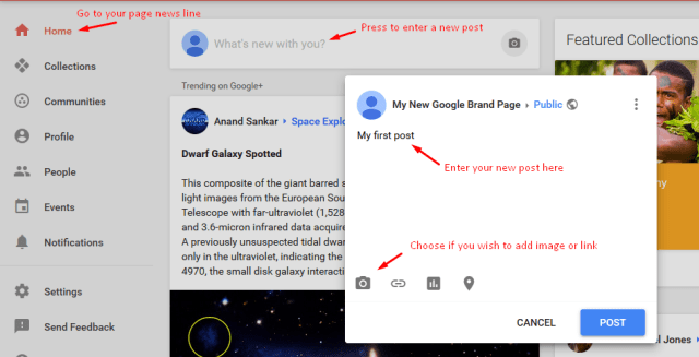 add new post to Google+ page