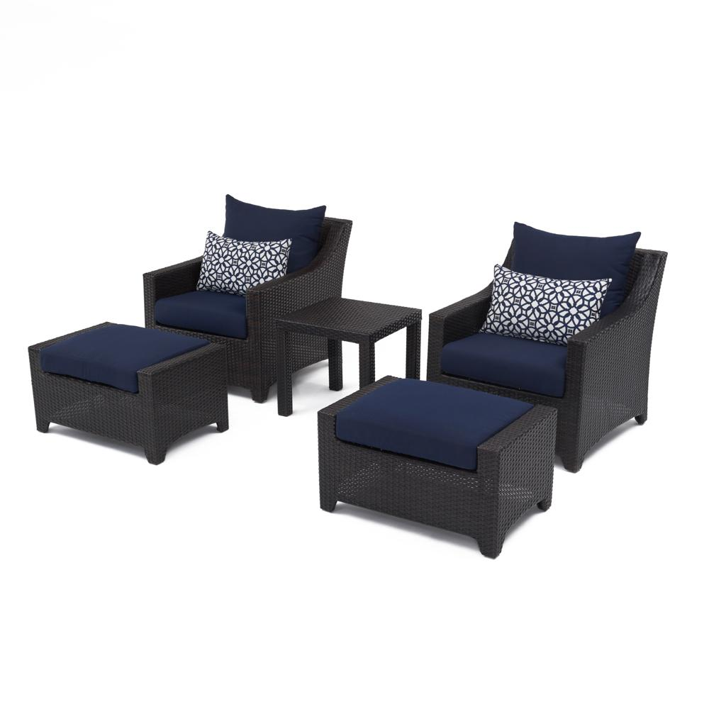 Navy Blue Accent Chair And Ottoman