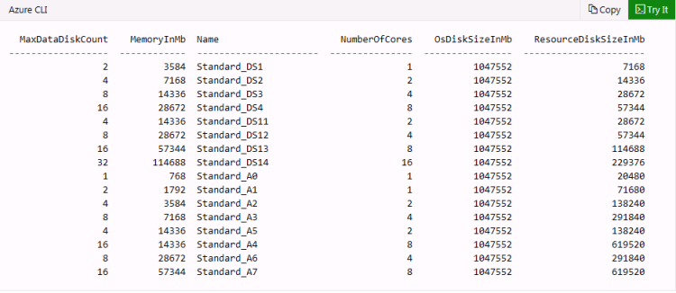 how to find available VM sizes in Azure