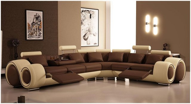 Modern Brown Leather Sofa Designs For Living Room with ...