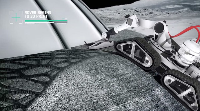A living pod is protected by a concrete layer made of moon dust (Still from YouTube video/European Space Agency)