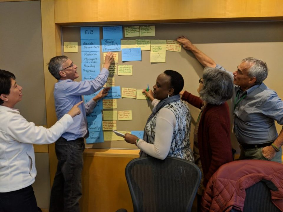 DURING THE WORKSHOP, PARTICIPANTS PREPARED AND DISCUSSED EXAMPLES OF G+ TOOL IMPLEMENTATION. PHOTO: CORNELL UNIVERSITY