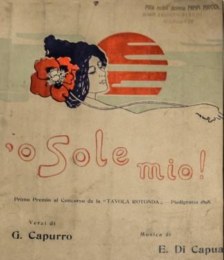 """Spertito originale di """"O Sole mio!"""", dedicato alla nobildonna Nina Arcoleo Mazza, oleggese. Museo Etnografico di Oleggio"""