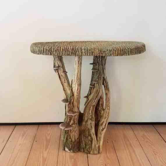 demilune faux bois table