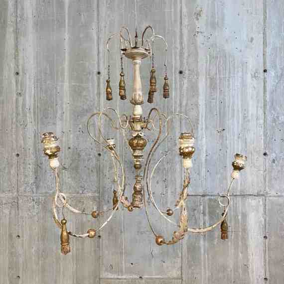 Vintage Wood and Iron Painted Indian Chandeliers – 1