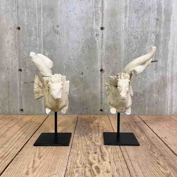 Pair of Carved Marble Hippocampus Architectural Fragments on Custom Stands – 1