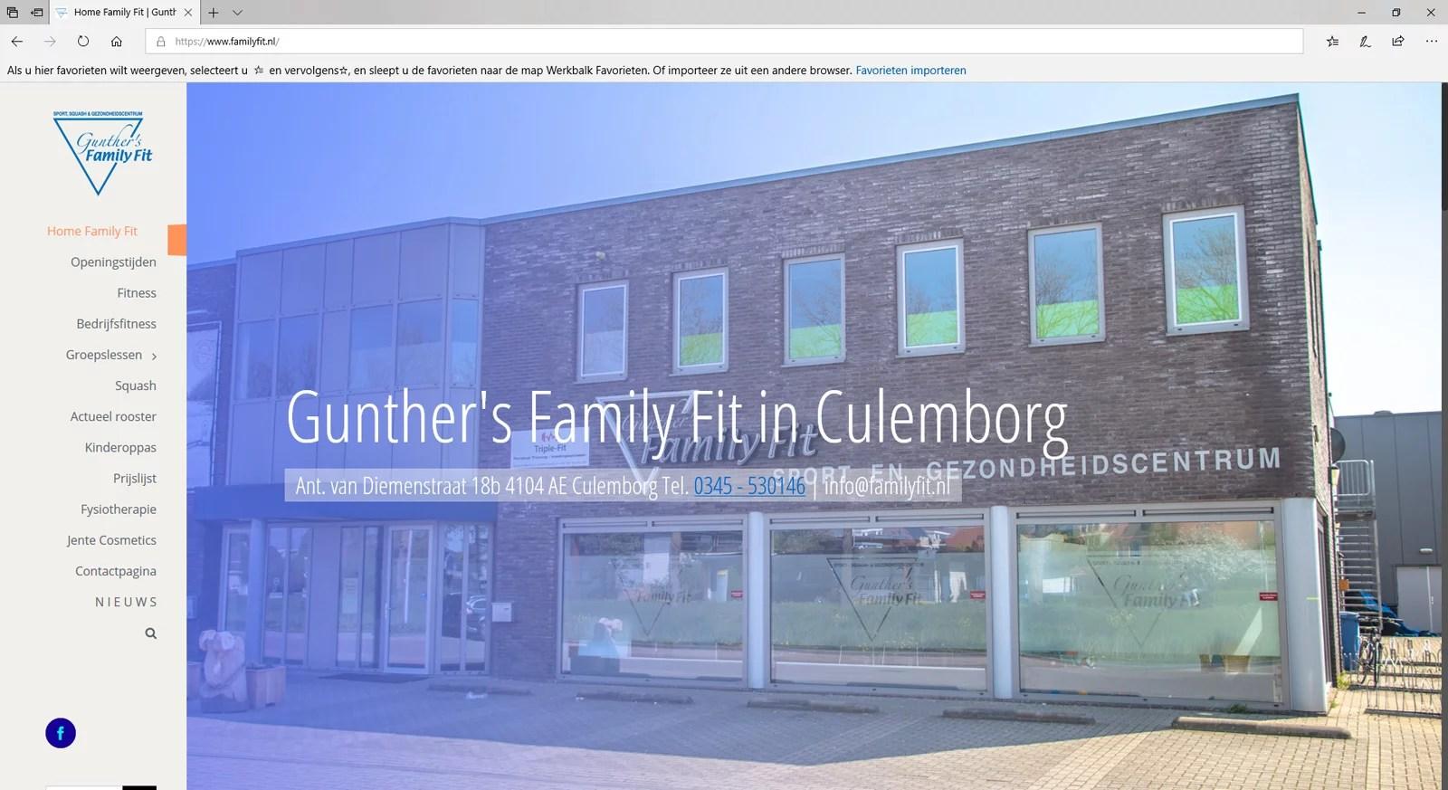 Een website voor een sportschool