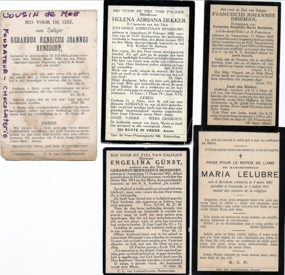 1910, approx famille Bensdorp - cartes funéraires