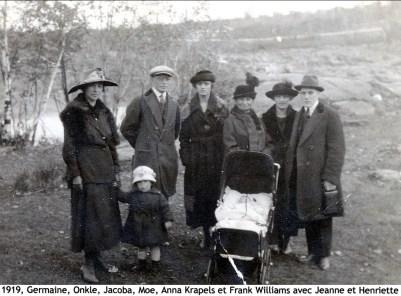 1919, Germaine, Onkle, Coba Krapels, Moe, Anna Krapels et Frank Williams avec Jeanne et Henriette copie