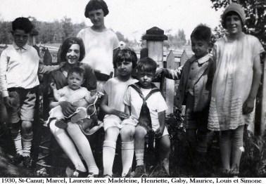 1930, St-Canut; Marcel, Laurette avec Madeleine, Henriette, Gaby, Maurice, Louis et Simone