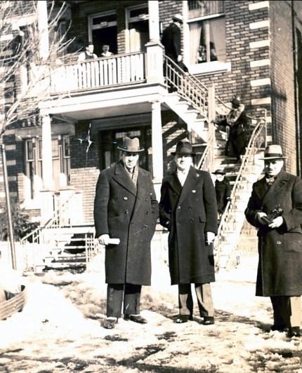 1941, Elzéar Fournier, Horace Thivierge et François de Kinder au baptême de Paulette