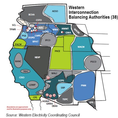 WECC Balancing Areas (vs CAISO EIM and Idaho Power)