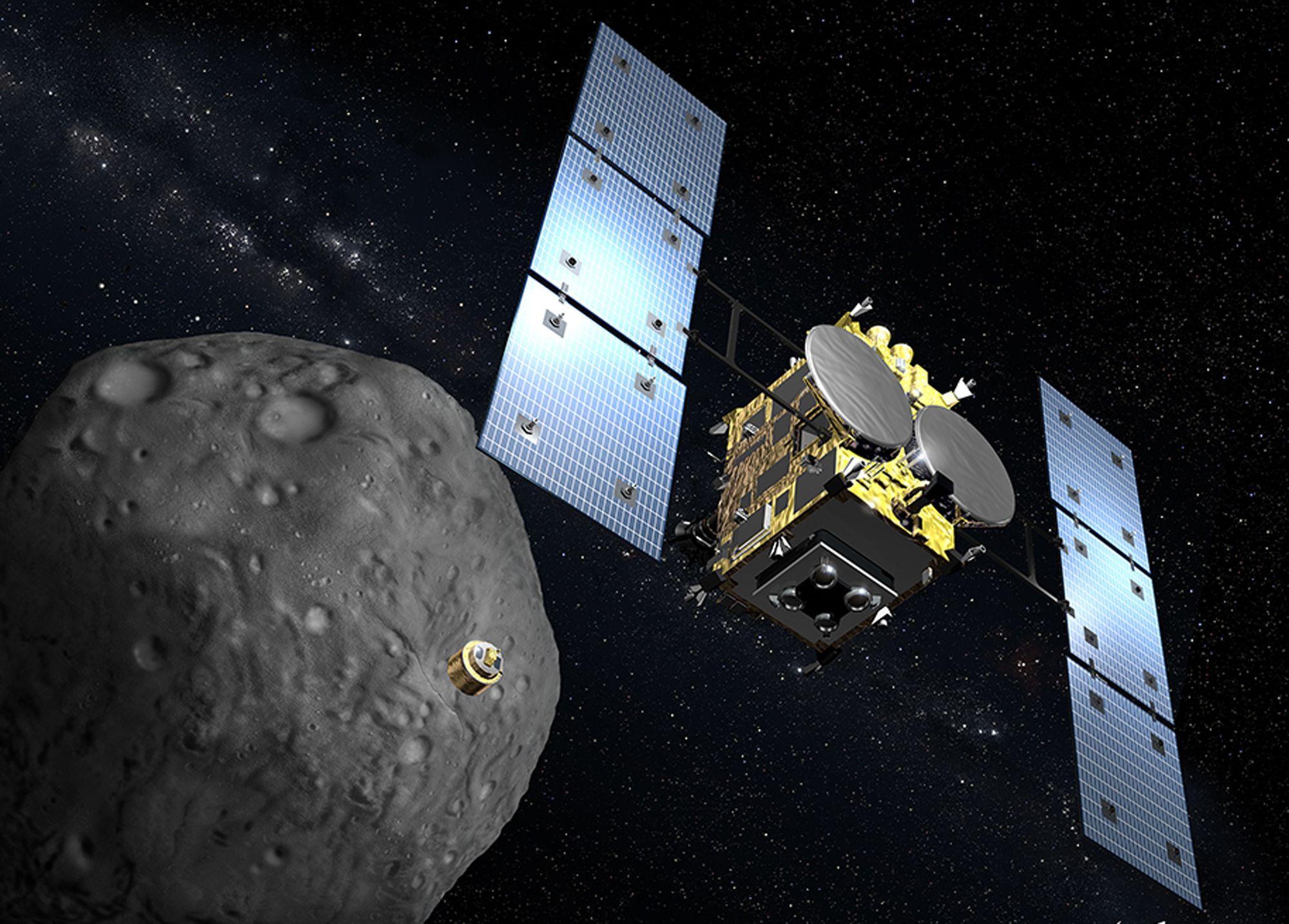 """La rencontre entre la sonde Hayabusa-2 et l'astéroïde """"1999 JU3"""" devrait avoir lieu en 2018."""