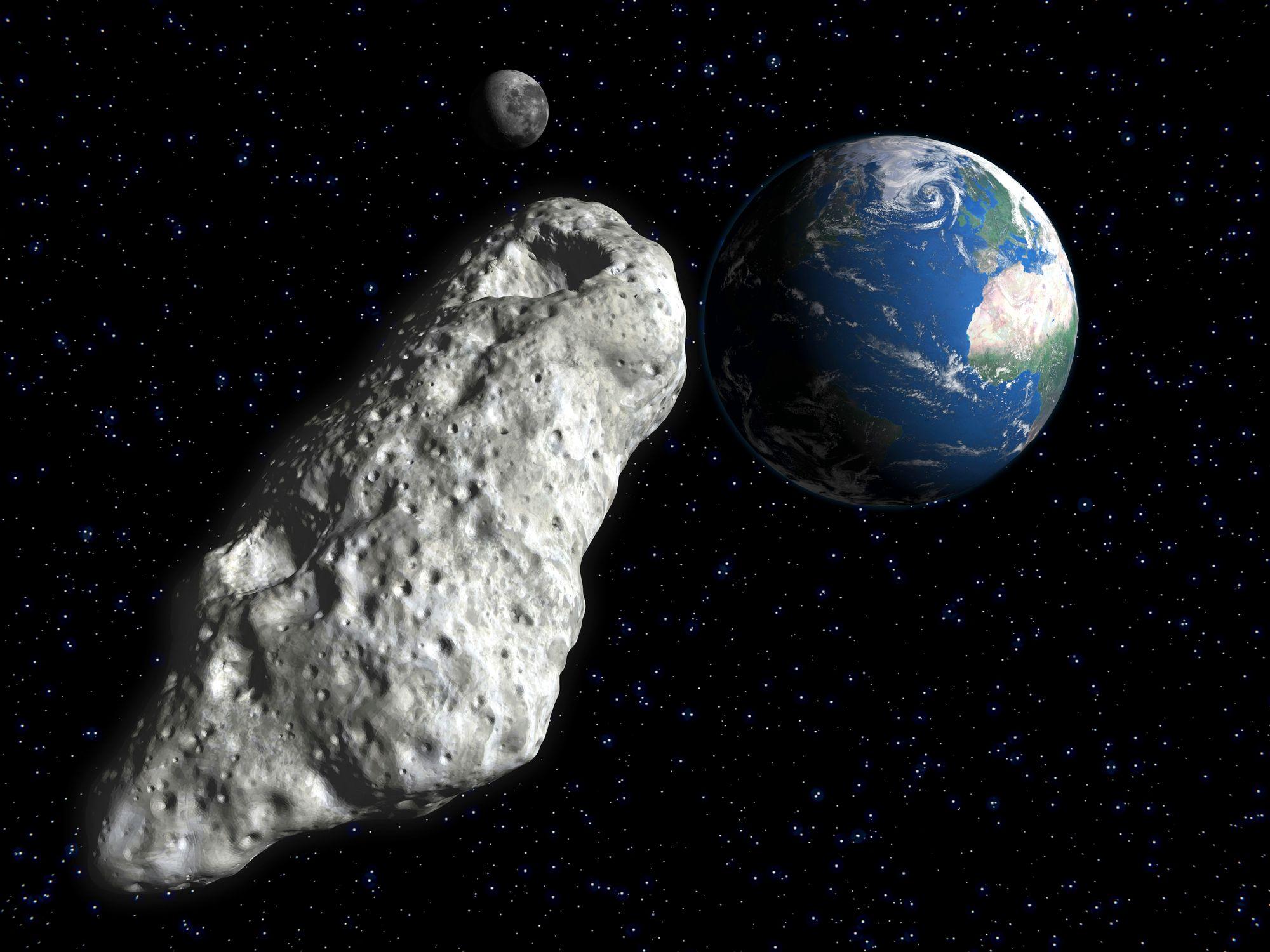 Vue d'artiste montrant un astéroïde, la Terre et la Lune.