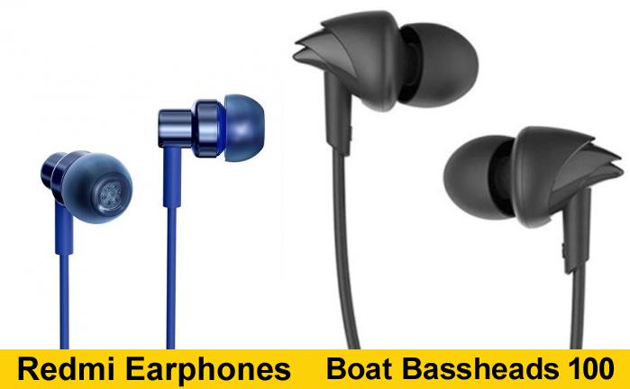 Redmi Earphones vs BoAt Bassheads 100