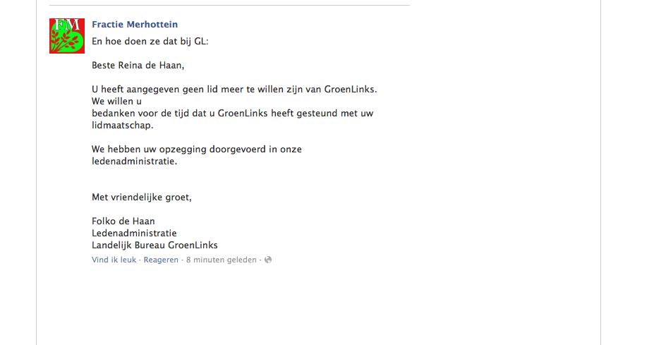 Reina de Haan GroenLinks-lid af