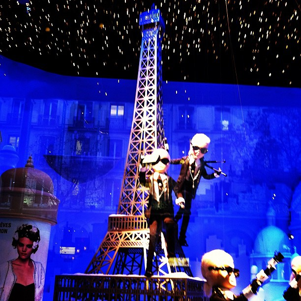 Printemps Paris Christmas Window Display Karl Lagerfeld