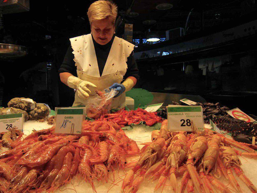 Seafood stall at La Boqueria Barcelona | www.rtwgirl.com