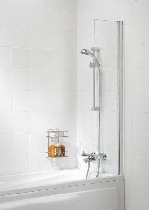 lakes bathrooms shower curtain panel bath screen 300 x 1500 silver