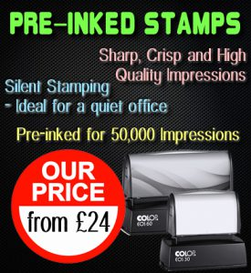Rubber Stamp Shops Birmingham offers pre-inked stamps from just £24.
