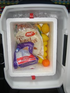 Food in the Styrofoam cooler.