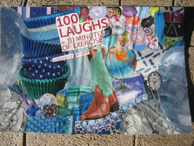"This new collage is called ""100 Laughs."" It is a bit smaller than the others, approximately 4"" x 6"". It is made from paper on a postcard that was on its way to the recycling bin. The price is $15, including postage."