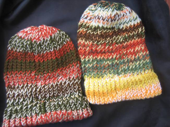 Both of these large hats in autumn color schemes have finished edges which can be worn down or folded up. Each hat costs $13, including postage.