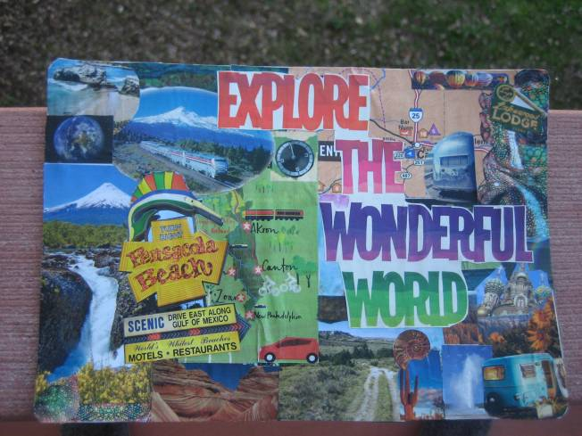 "This collage is quite a bit bigger than the others. It is approximately 8 1/2"" x 6,"" and is called Explore the Wonderful World. it cost $20, including postage."
