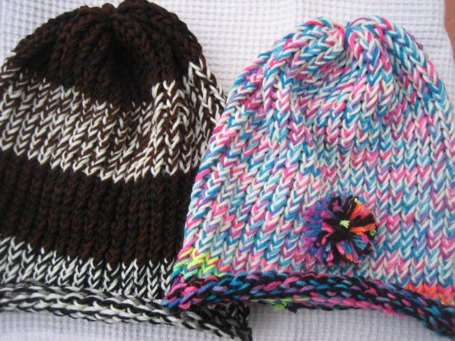 These two extra large hats have rolled edges and are suitable for people with large heads or a lot of hair. Each costs $13, including postage. The hat on the right has a whimsical pompom on the front.