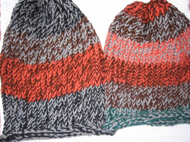 These two extra large hats have rolled edges and are suitable for adults with a large head or lots of hear. Each has a rolled edge and costs $13, including postage.