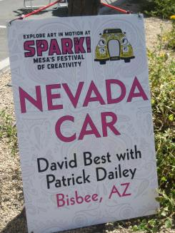 "Sign reads ""Nevada Car David Best with Patrick Dailey Bisbee, AZ."""