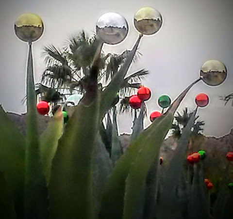 Photo has a dreamy quality and shows shiny Christmas tree ball ornaments on the pointy end of desert plants. A palm tree and mountains are visible in the background.
