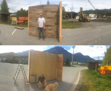 Testing out the booth, Its solid! Tim rocks rustic barn board while I represent more modern maple and concrete inlay.