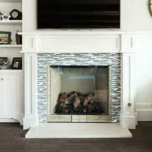 fireplace tile ideas blue and gray